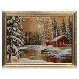 E012-30х40 Картина из гобелена 'Избушка в зимнем лесу' (35х45) Ош