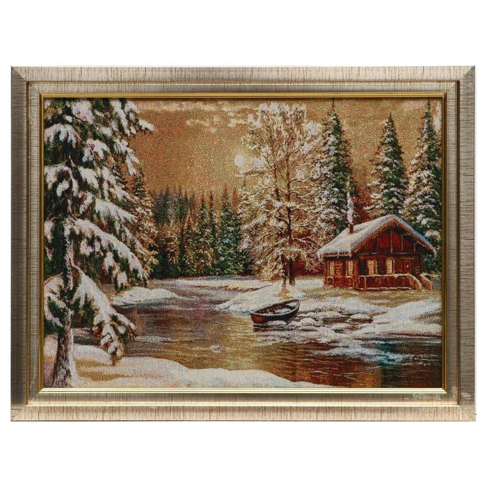 E012-30х40 Картина из гобелена Избушка в зимнем лесу 35х45