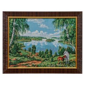E051-30x40 Картина из гобелена 'Озеро с березками и пара лошадей' (35х45) Ош
