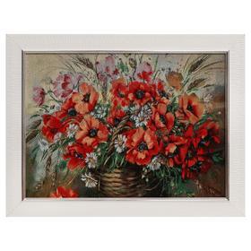 E102-30x40 Картина из гобелена 'Маки и полевые цветы' (35х45) Ош