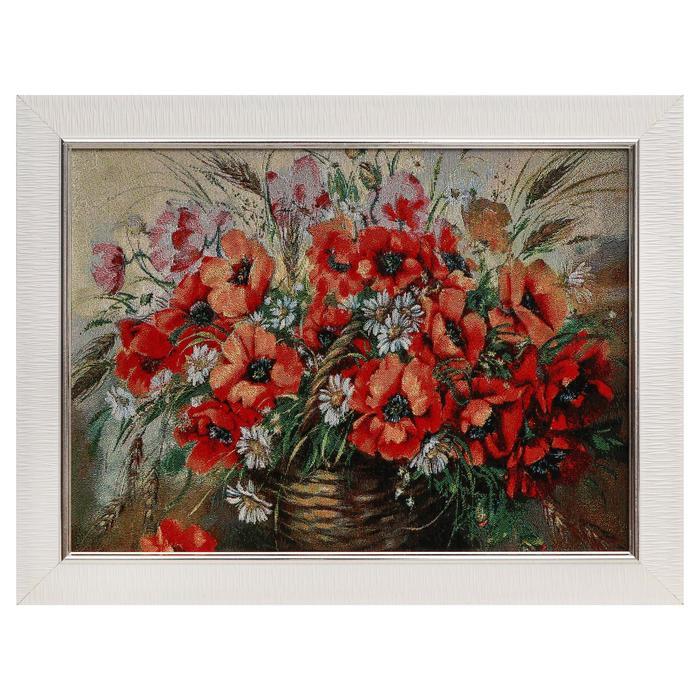 E102-30x40 Картина из гобелена Маки и полевые цветы 35х45