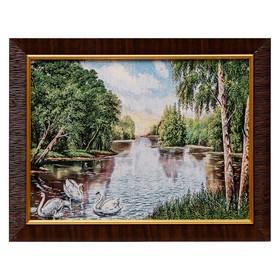 Картина из гобелена 'На пруду' 35х45 см Ош