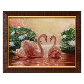 M078-30x40 Картина из гобелена 'Лебеди в цветущем пруду' (35х45) Ош