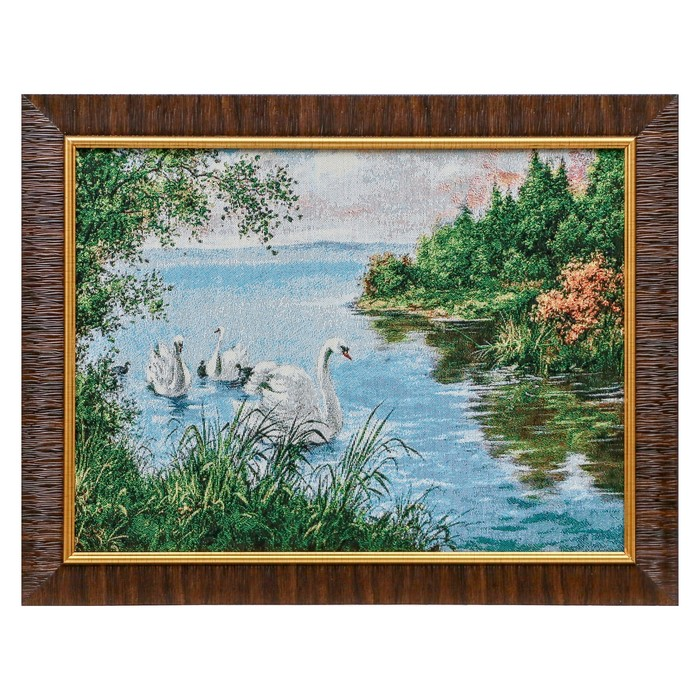 W066-30х40 Картина из гобелена Лебединое семейство в пруду 35х45