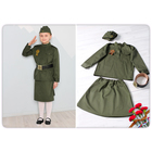 Карнавальный костюм «Солдатка», гимнастёрка, юбка, ремень, пилотка, рост 104 см