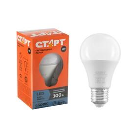 """Лампа светодиодная """"Старт"""" Эко, E27, 15 Вт, 6500 K, 230 В, холодный белый"""