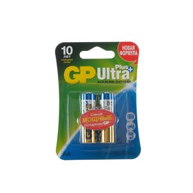 Батарейка алкалиновая GP Ultra Plus, AA, LR6-2BL, 1.5В, блистер, 2 шт.