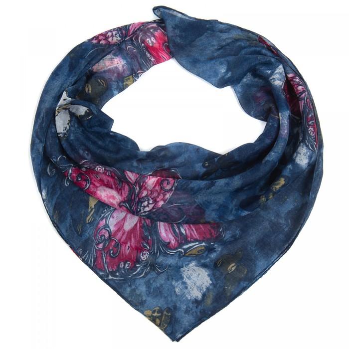 Платок женский текстильный, цвет синий/бабочки, размер 96х96