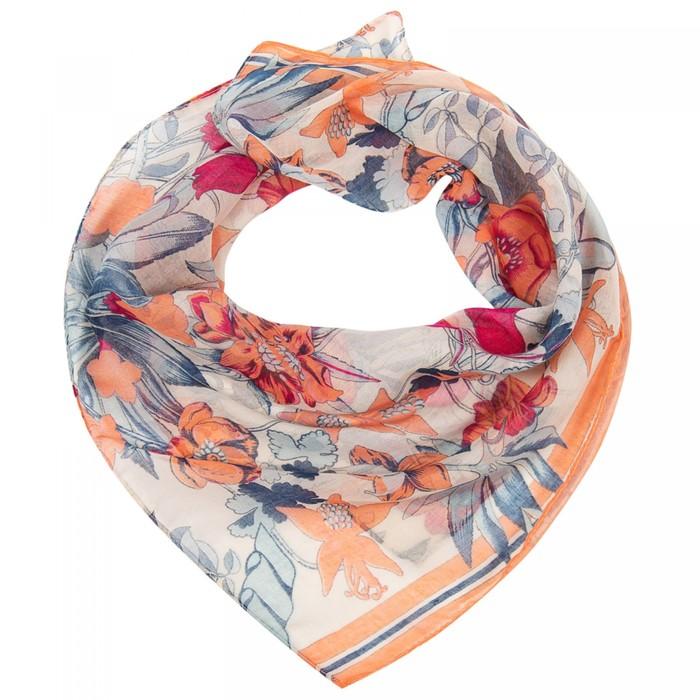 Платок женский, цвет молочный/оранжевый, размер 96х96