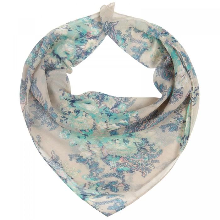 Платок женский, цвет бежевый/голубой, размер 96х96