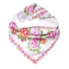 Платок текстильный женский, цвет белый/цветы, размер 80x80