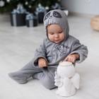 Комбинезон «Умный Енот» с капюшоном, рост 56-62 см, цвет серый - Фото 4