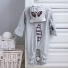 Комбинезон «Умный Енот» с капюшоном, рост 56-62 см, цвет серый - Фото 5