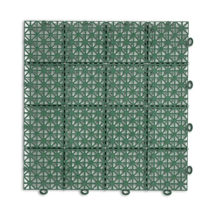 Модульное покрытие, 30  30  1,5 см, пластик, зелёный, 1 шт