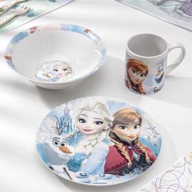 Набор посуды детский «Холодное сердце. Цветы», 3 предмета