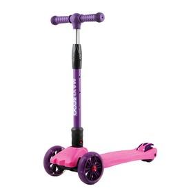 Самокат Maxiscoo Junior Delux со светящимися колёсами, цвет розовый