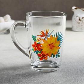 Кружка «Каппучино. Тропические цветы», 300 мл, рисунок МИКС