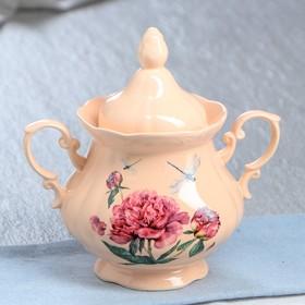"""Сахарница """"Камелия"""", персиковая, цветы, 0.5 л, деколь микс"""