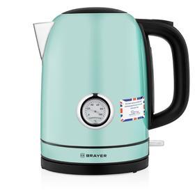 Чайник электрический BRAYER 1005BR-GN, металл, 1.7 л, 2150 Вт, термометр, зелёный
