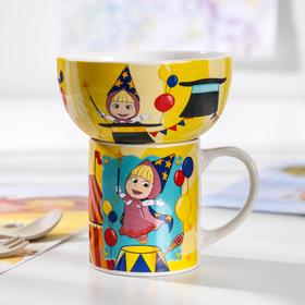 Набор посуды детский «Маша и медведь. Цирк», 2 предмета: кружка 200 мл, миска 300 мл
