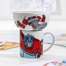 Набор посуды детский Hasbro Transformers «Оптимус Прайм», 2 предмета: кружка 200 мл, миска 300 мл