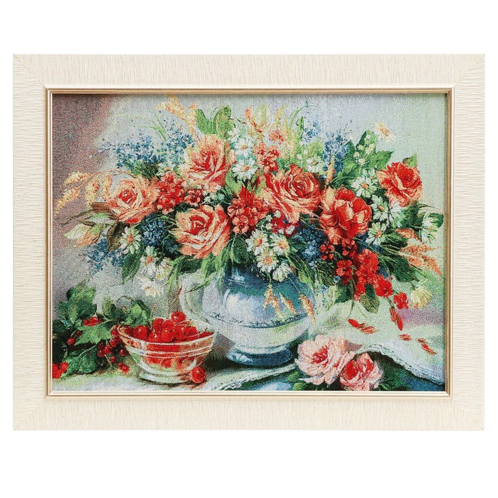 "E088-30х40 Картина из гобелена ""Букет и чашечка с вишней"" (35х45)"