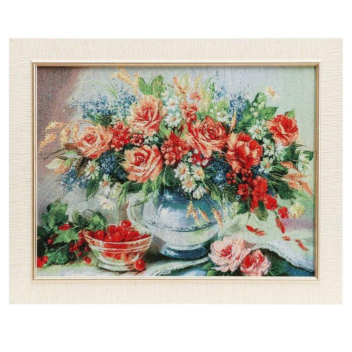 E088-30х40 Картина из гобелена Букет и чашечка с вишней 35х45