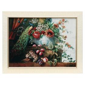 Картина из гобелена 'Павлин и ваза с цветами', 45х62 см Ош