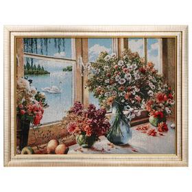 Картина из гобелена 'Букеты у окна', 35х45 см Ош