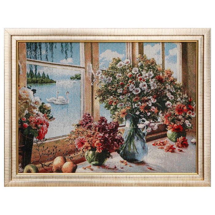 H247-30х40 Картина из гобелена Букеты у окна 35х45