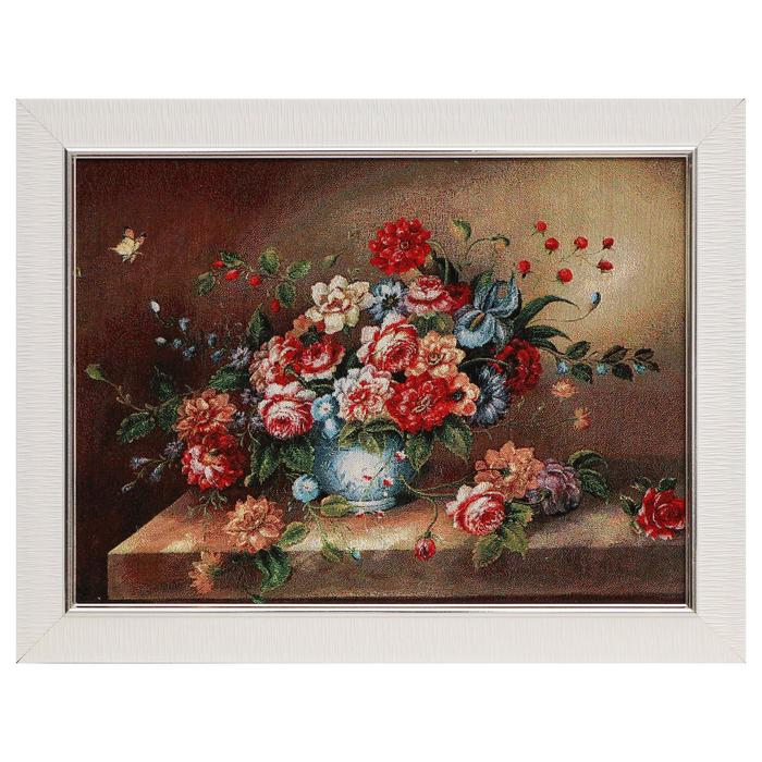 "H263-30х40 Картина из гобелена ""Букет пионов"" (45х35)"