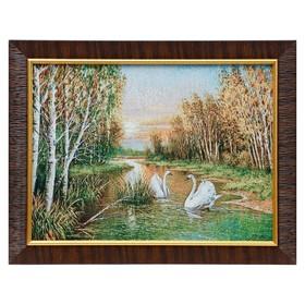 M009-30х40 Картина из гобелена 'Лебеди в осеннем лесу' (35х45) Ош