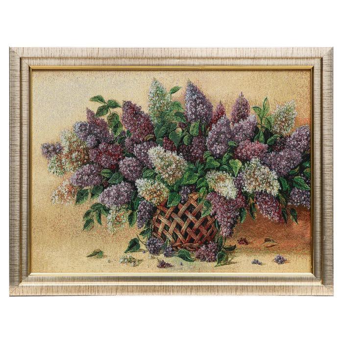 M019-30х40 Картина из гобелена Сирень в плетеной вазе35х45