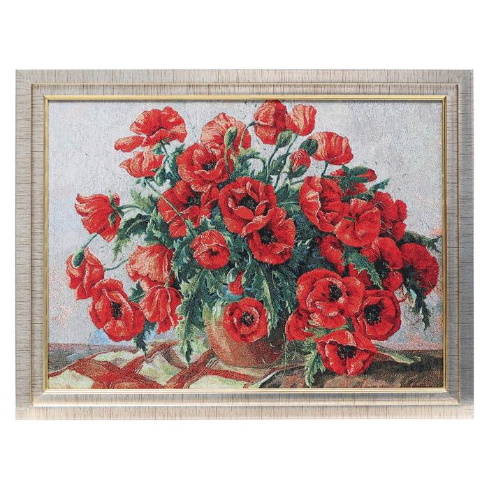 M020-30х40 Картина из гобелена Маки в вазе 35х45