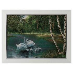 S200-30x40 Картина из гобелена 'Стая белых лебедей у березок' (35х45) Ош