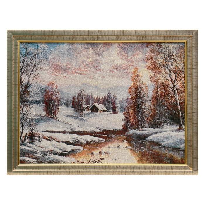 W085-30х40 Картина из гобелена Закат в зимней деревне 35х45