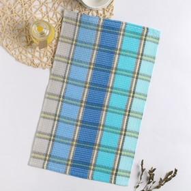 Полотенце вафельное Радуга 001 30х50 см, сине-желтое, хлопок 100%, 220г/м2