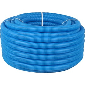 Труба гофрированная STOUT, d=32, для труб d=25, без протяжки, бухта 50 м, синяя