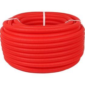 Труба гофрированная STOUT, d=25, без протяжки, бухта 50 м, красная