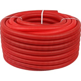 Труба гофрированная STOUT, d=32, без протяжки, бухта 50 м, красная