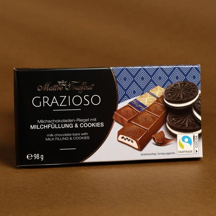 Батончики Maître Truffout из молочного шоколада, хрустящий бисквит и какао, 98 г