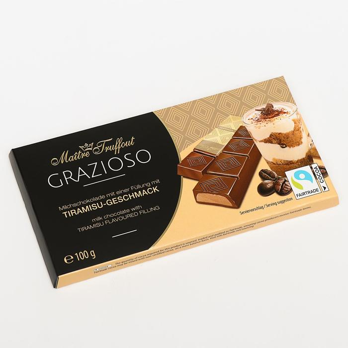 Батончики Maître Truffout из молочного шоколада, тирамису, 100 г