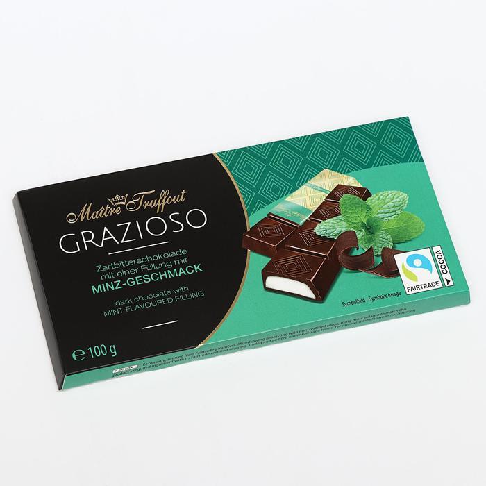 Батончики Maître Truffout из горького шоколада, кремово-мятная прослойка, 100 г