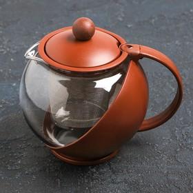 Чайник заварочный 0,75 л, с ситом, пластик/стекло, цвет МИКС Ош