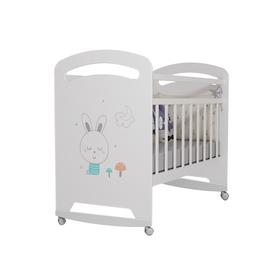 Кровать детская Lucy  колесо-качалка (белый) (1200х600)
