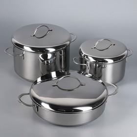 Набор 6 предмета «Гурман Классик»: кастрюля 1,5 л, 2,5 л; жаровня d=24 см, с крышками