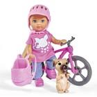 Кукла «Еви» 12 см, на велопрогулке с собачкой