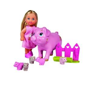 Кукла «Еви» 12 см, со свинкой и поросятами