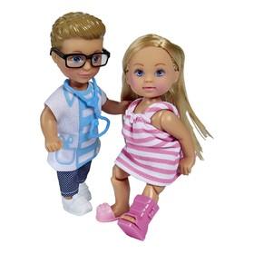 Набор: куклы «Еви и Тимми», 12 см, на приеме у доктора