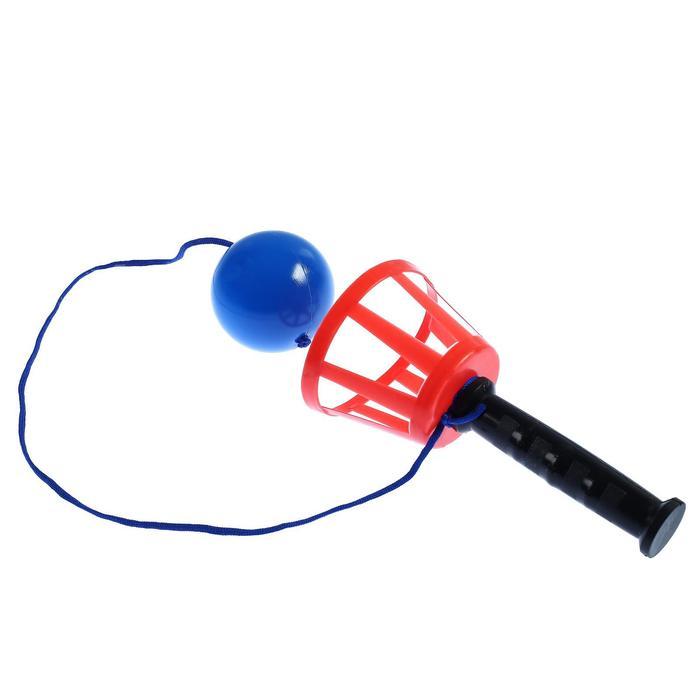 Игра Поймай мяч, корзинка d-10,5-с ручкой мячикd-7,5 см на шнурке, 1 игрок, микс